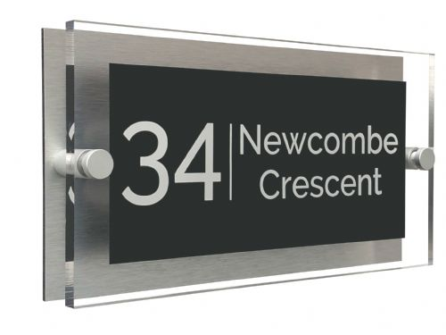 Rectangle Shape - Clear Acrylic House Sign - Anthracite Colour with White text in Font  4